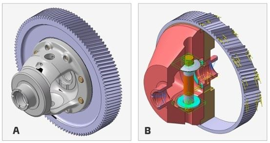 These are models of a) a conventional differential of front transverse transmission, and b) a package model of differential.All the inner contours needed by any function (bevel gears, side shafts, bearings, etc.) were subtracted from this body (Figure b).