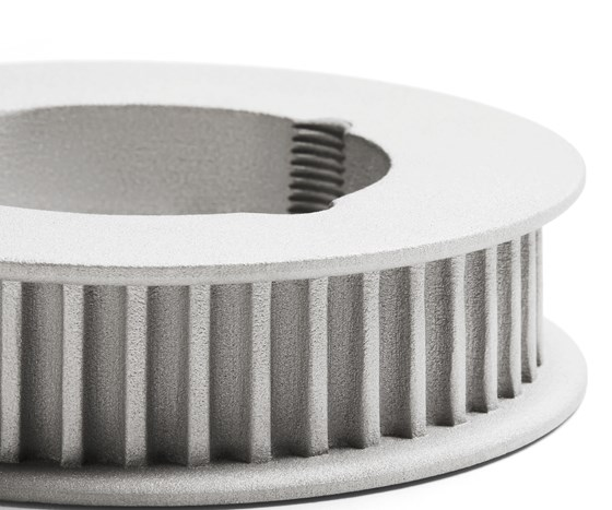 Close up of a part made on HP metal 3D printer showing finish