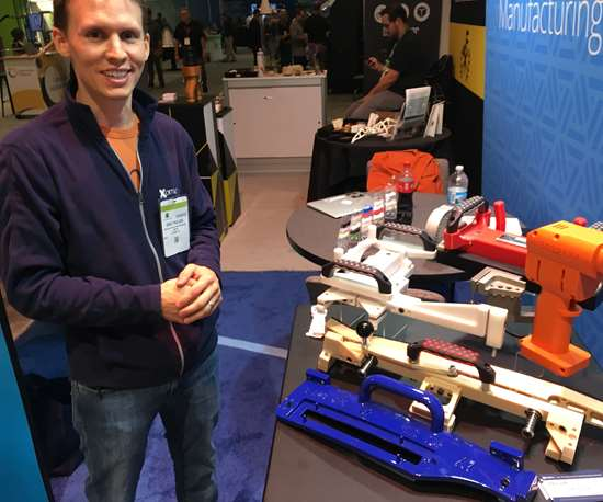 Xometry's Gregory Paulsen with tooling produced for BMW
