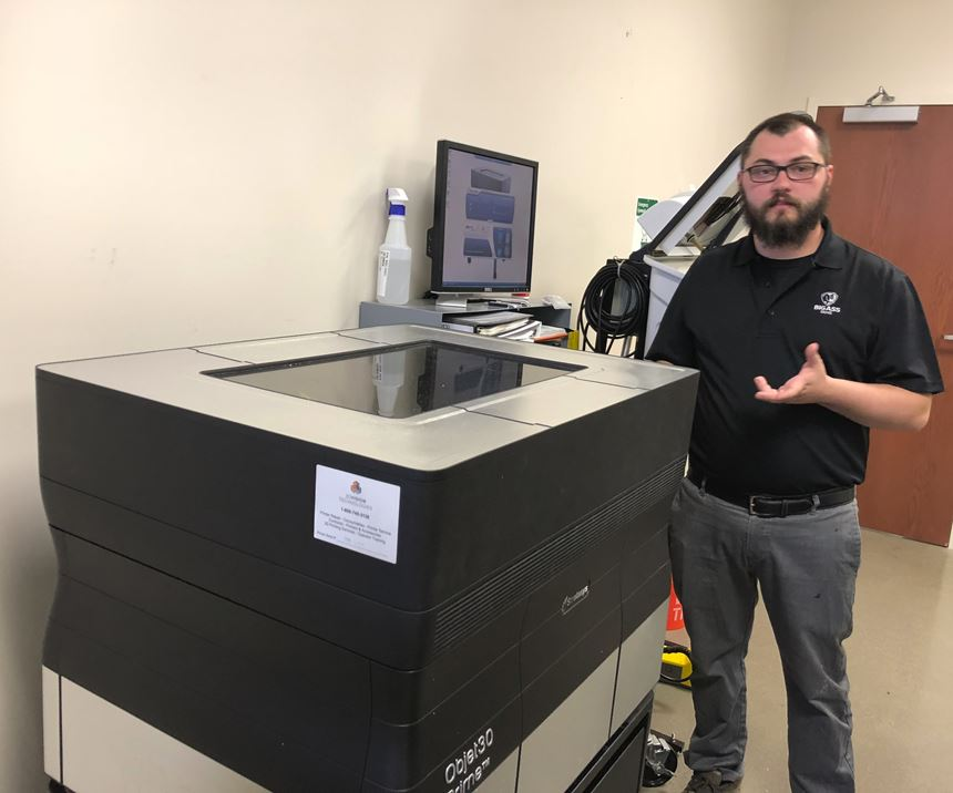 Michael Smith with Stratasys Objet 30 Prime in tinker room
