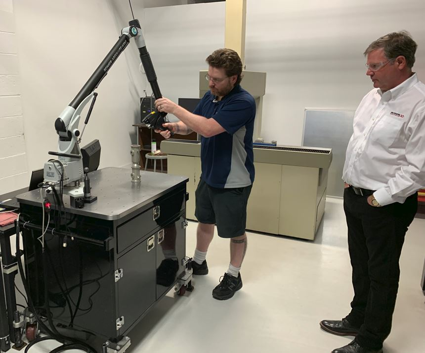 Scanning department at Incodema3D with tech and Sean Whittaker, president