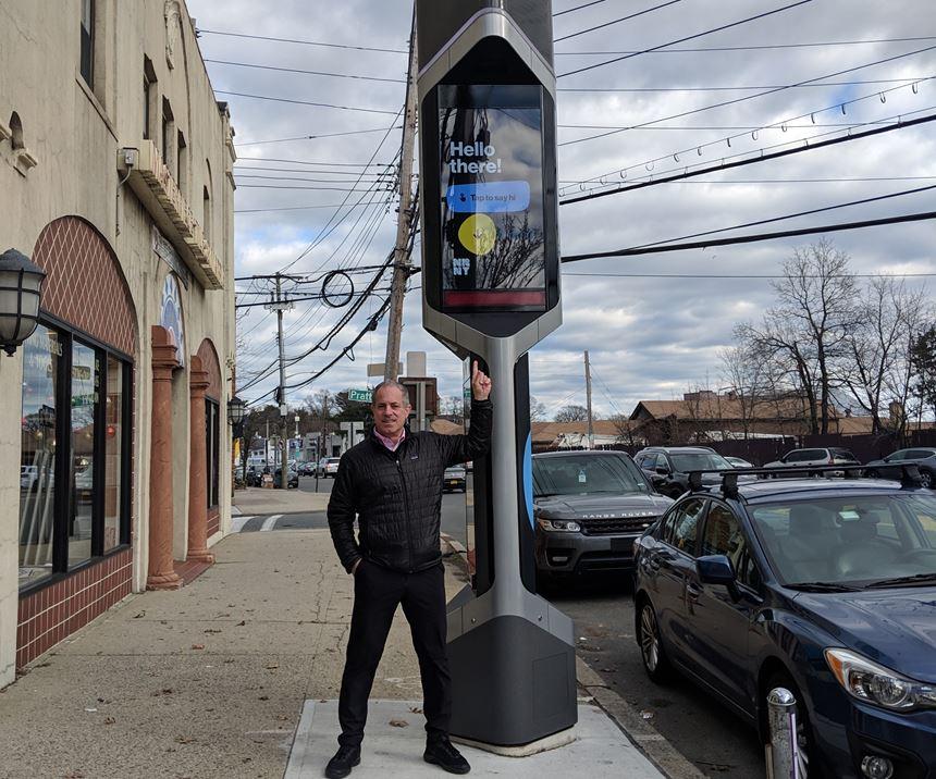 Frank Marangell, BigRep America, in front of kiosk