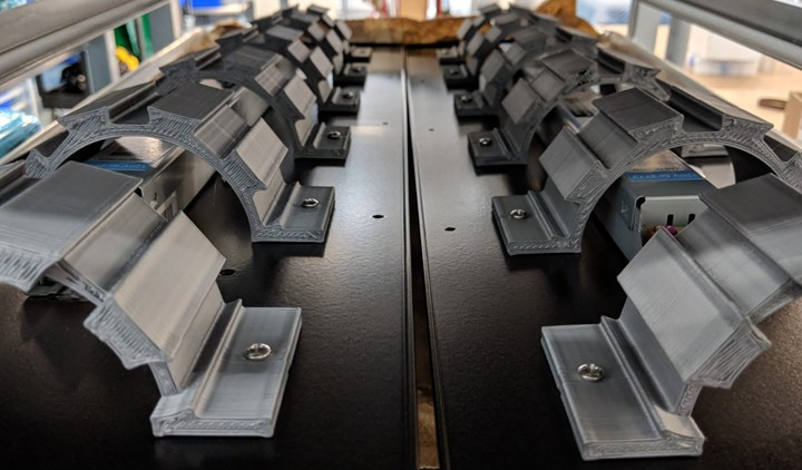 3D printed brackets inside LED strip