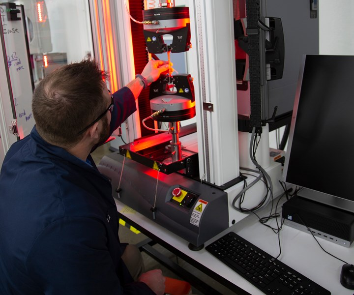 Jabil employee testing a new material