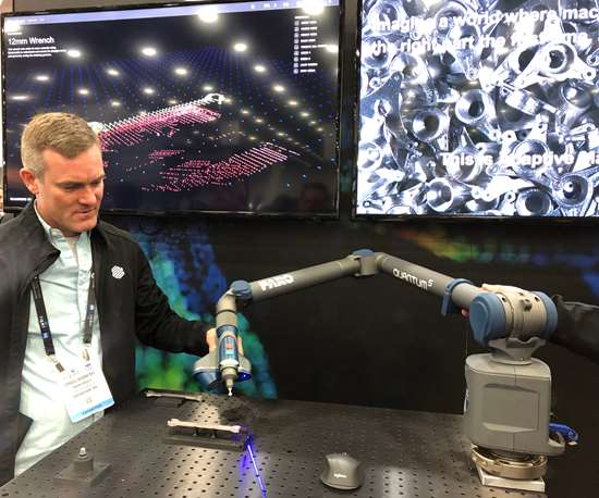 Craig Wisneski, senior director of product management for Markforged, demonstrating Blacksmith at Rapid + TCT 2019