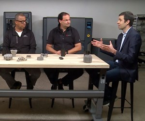 Ken Washington, CTO, Ford; Ric Fulop, CEO, Desktop Metal; and Prof. John Hart, MIT professor for additive manufacturing