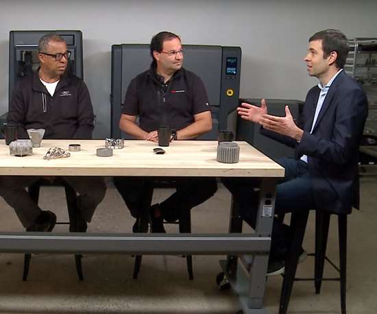 Ken Washington, CTO, Ford; Ric Fulop, CEO, Desktop Metal; and Prof. John Hart, MIT professor for additive manufacturing