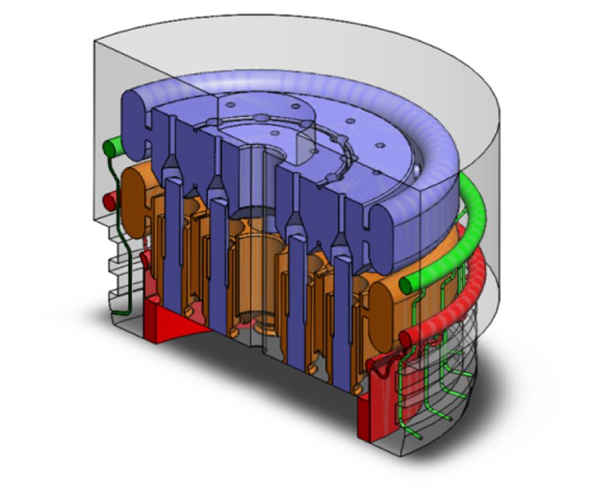Cooling channels inside the injector head designed by DLR and 3D Systems