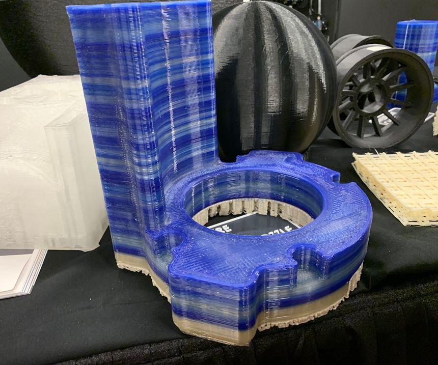 Titan Robotics pellet-fed 3D-printed part with filament-fed dissolvable supports
