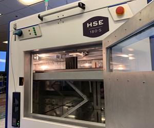 Essentium 3D printer with door open