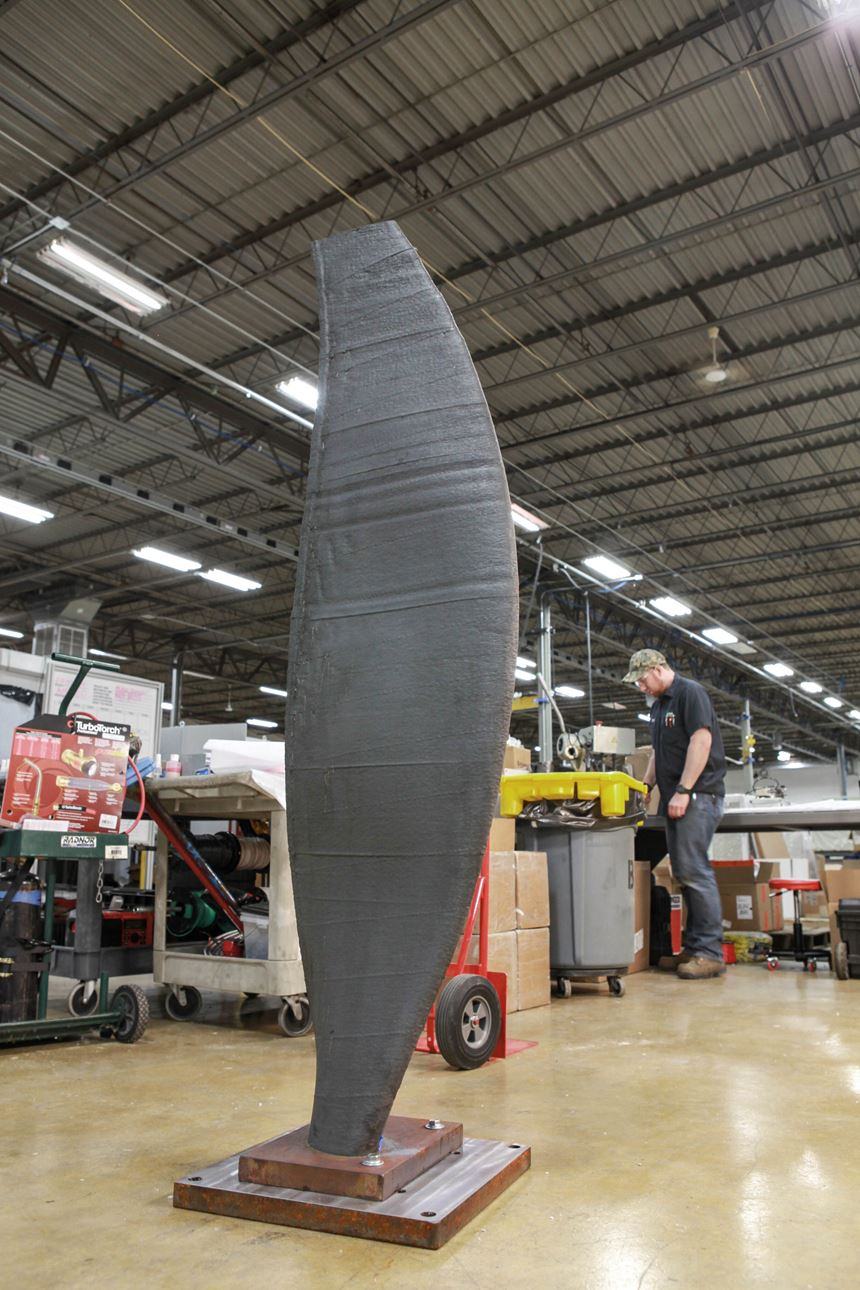 6-foot-tall steel sample part made with addere robot additive manufacturing