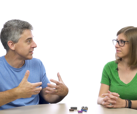 Peter Zelinski and Stephanie Hendrixson of The Cool Parts Show, a YouTube series about additive manufacturing