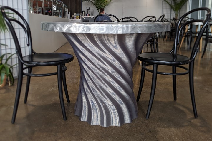 3d printed table made with recycled PET-G pellets