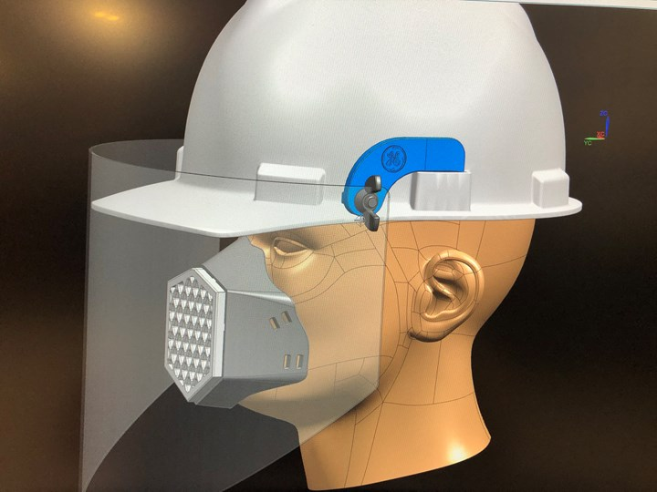rendering of a hardhat with face shield adapters