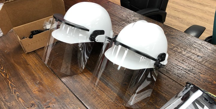 hard hats with 3D printed adapters and face shields