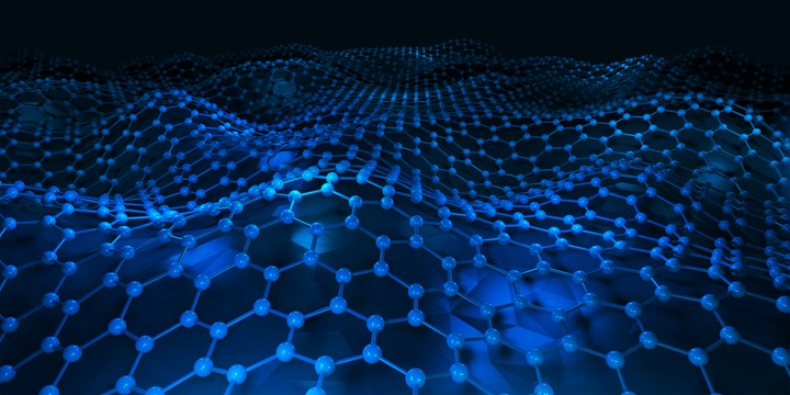 Hexagonal lattice of carbon molecules that form a layer of graphene