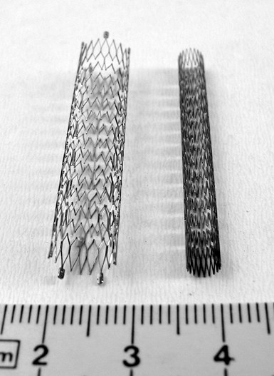 expanded and collapsed conventionally manufactured stents