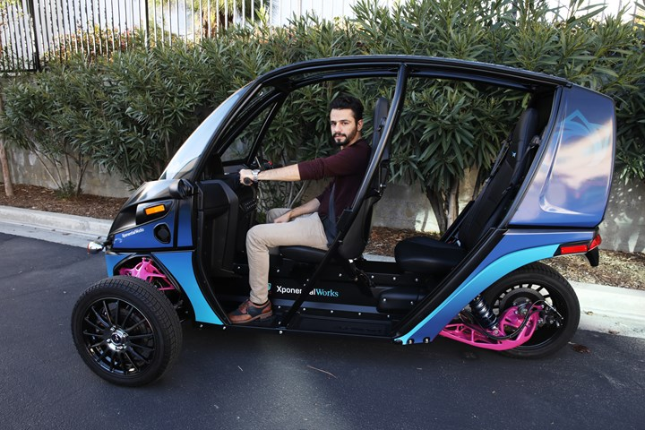 Arcimoto Fun Utility Vehicle with 3D printed parts