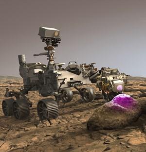 Perseverance landing on Mars, artists rendering