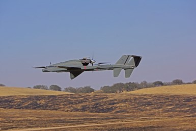 unmanned aerial system in flight