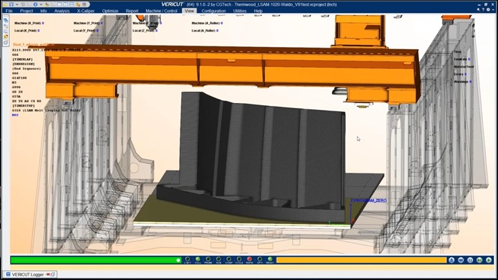 CGTech simulation of Thermwood LSAM machine