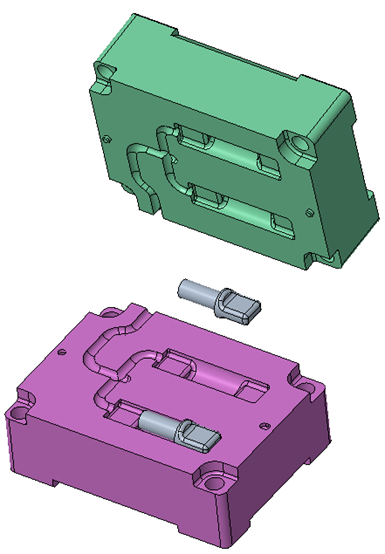 CAD of the 3D printed mold and inserts