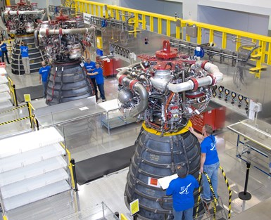 RS-25 engine inspection inside the engine assembly room at Aerojet Rocketdyne's Stennis Space Center Facility