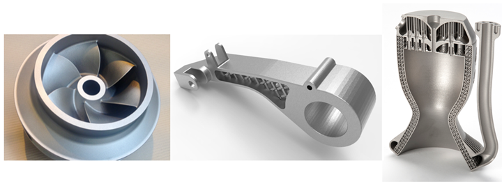 Ideal parts for Binder Jetting Processing1 (left) and Powder Bed Fusion2 (right) with the TBGA Control Arm1 (center)
