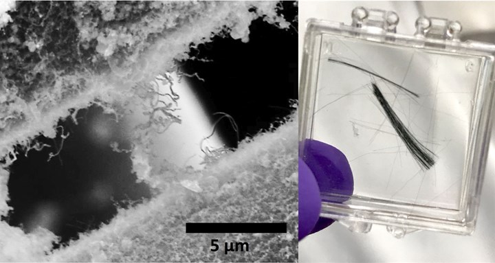 Micrograph of SiC grown from carbon nanotubes onto SiC fibers
