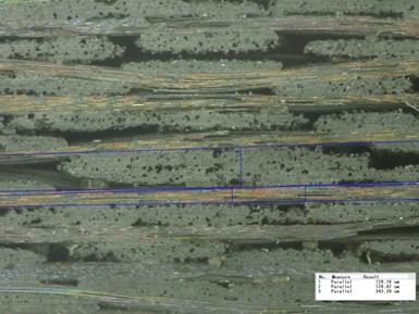 Silicon carbide SiC reinforced SiC matrix composite micrograph