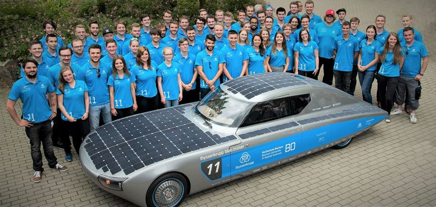 Solar car that was painted by Axalta Coating Systems