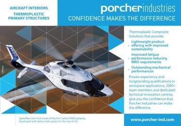 Porcher Industries Airbus Helicopter H160 rotor hub thermoplastic composite carbon PEEK