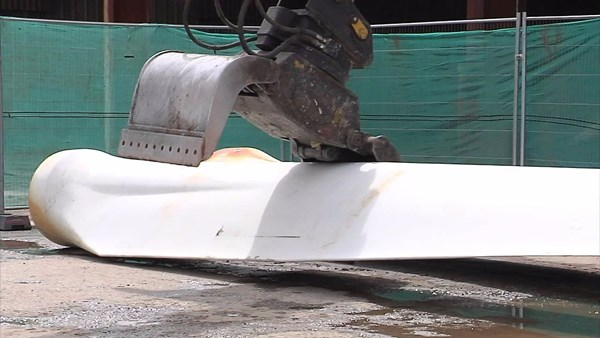 wing turbine blade being recycled