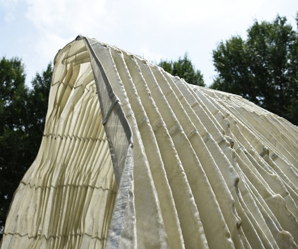 Close-up of folded composite structure.