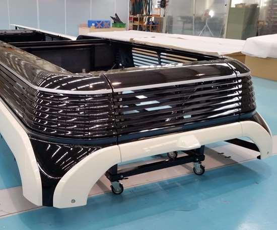 Carbon fiber composite roof structure.