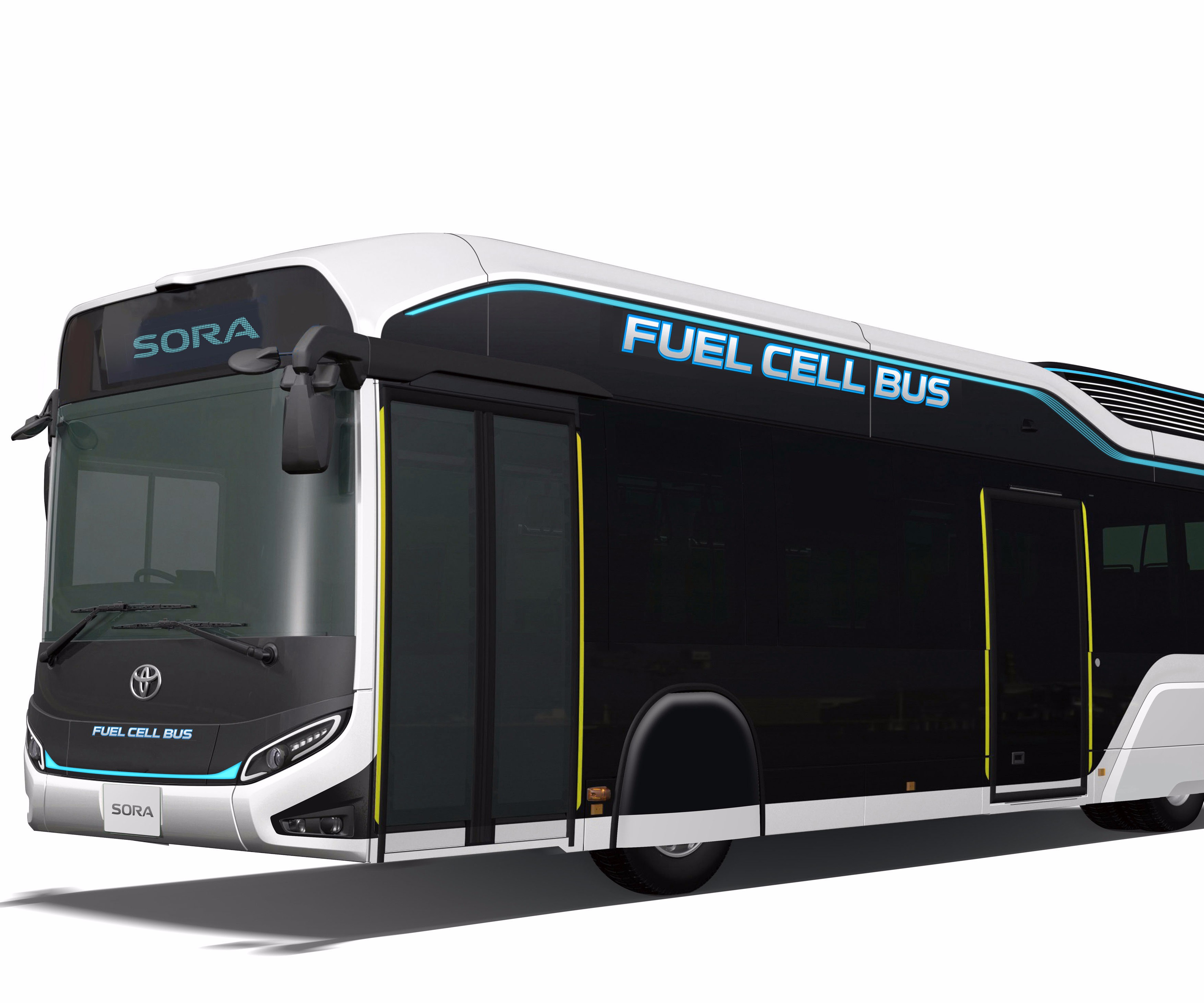 Toyota fuel cell bus featuring carbon fiber roof.