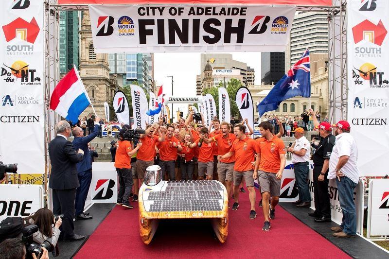 Finish of 2017 Bridgestone World Solar Challenge in Adelaide, Australia