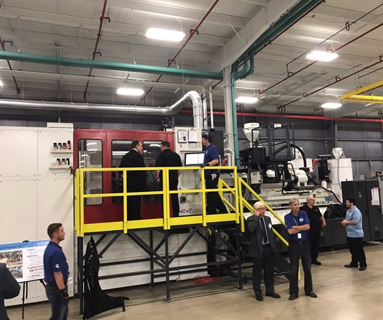3,000-ton Milacron injection molding machine at the IACMI Vehicles Scale-Up Facility.