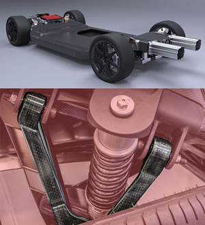 Williams Advanced Engineering FW-EVX scalable electric vehicle platform and CFRP suspension wishbones using recycled carbon fiber