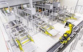 Voith Composites automated production line for Audi A8 rear wall Voith Roving Applicator