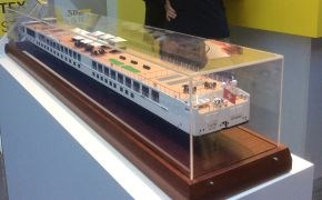 River cruising ship LEO fire-resistant composite deck