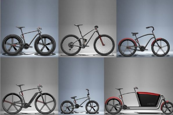 Arevo 3D printed carbon fiber thermoplastic composite bike variations