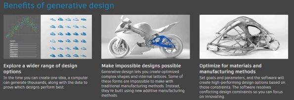benefits of generative design include more design options and optimized materials and manufacturing methods