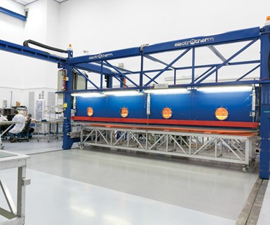 hot drape forming machine at Israel Aerospace Industries