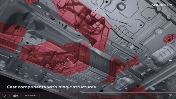 Bionic cast metal components used in Audi A8 underbody