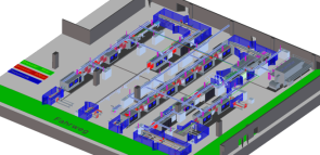 schematic for Fill Gesellschaft automated composite ski production line