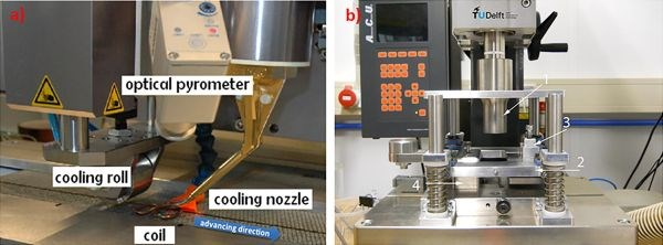 Induction and ultrasonic welding setup for hybrid welding of carbon fiber/epoxy composites using thermoplastic layer