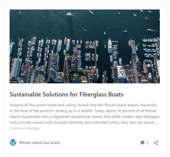 Rhode Island Sea Grant and RIMTA have partnered to pilot recycling of fiberglass boats