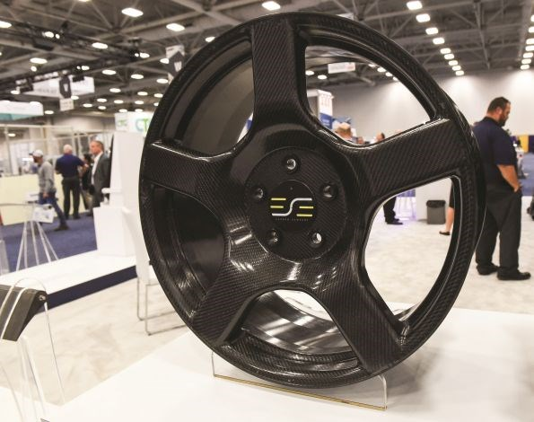 ESE Carbon one-piece carbon fiber composite automotive wheel made using resin infusion and Huntsman epoxy resin