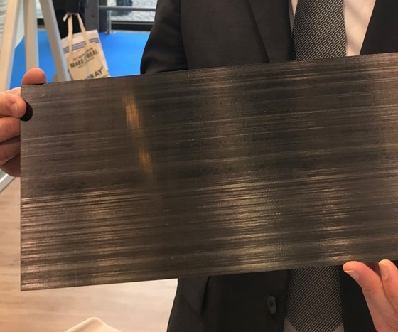 SABIC UDMAX preconsolidated carbon fiber/PC laminate.